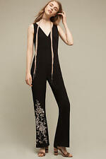 NWT ANTHROPOLOGIE HD in Paris Black Tal Floral Embroidered Jumpsuit- SZ 4P