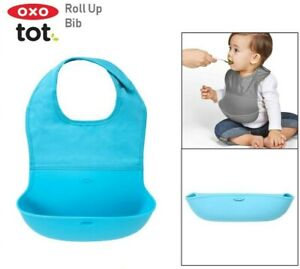 Baby Roll Up Silicone Silicone Bib - 6 Months Plus. OXO TOT BIB in Aqua
