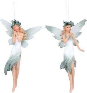 Gisela Graham Set of 2 Pale Green White Resin Fairy Hanging Christmas Decoration
