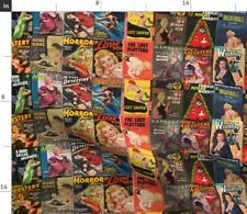 Vintage Pulp Magazine Covers Retro Decor Red Fabric Printed by Spoonflower BTY
