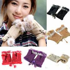 1pair Women Faux Rabbit Fur Hand Wrist Warmer Fingerless Half Cuff Winter Glove