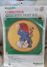 Vintage WonderArt Smurf Christmas Needlecraft Stitchery Kit Santa's Helper
