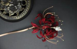 Red Higan Bana Silk Hairpin Hair Stick Manjusaka Kanzashi Wind Flower Sa