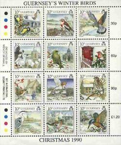 "GUERNSEY SCOTT HINGED # 445, M/S ""GUERNSEY'S WINTER BIRDS"""