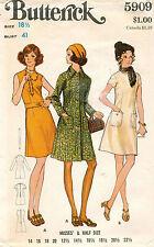1970's VTG Butterick Misses' Dress & Coat Pattern 5909  18.5 UNCUT