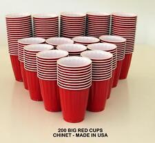200 AMERICAN LARGE 523ML RED PARTY CUPS BEER SCHOONER FRAT KEG PONG PLASTIC USA