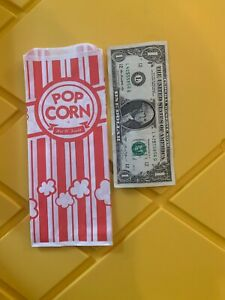 Carnival King popcorn bags 100 count red striped FREE SHIPPING