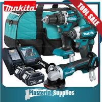 Makita Brushless Hammer Driver Drill & Impact Driver & Grinder Kit Li-Ion 18v