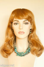 Ginger Red Long Medium Straight Skin Top Wigs