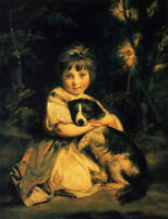 Oil Joshua Reynolds - Love me, Love my dog little girl with her pet dog canvas