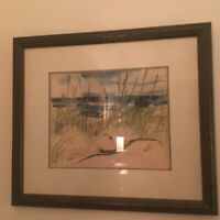 """J. Kosfeld Signed Watercolor Painting """"Sea Oats Dunes Outer Banks, N.C."""" Framed"""