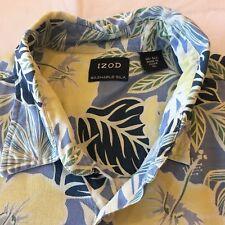 Izod Sz XL Hawaiian Silk Floral Button Up Shirt Short Sleeve Yellow Blue Green