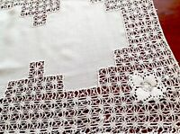 VINTAGE DRAWNTHREAD WORK WHITE RAYON/LINEN TABLE CENTRE TRAY CLOTH 16X13 INCH