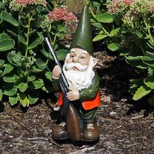 "Sunnydaze Hank the Hunting Gnome Garden Statue Outdoor Lawn Ornament/Decor - 12"""