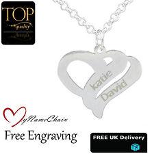 personalisiert Liebe Herz Anhänger Halskette Jeden ZWEI Namen graviert