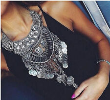 New Design Women Silver Trendy Long Big Bib Statement Bohemain Necklace Collar