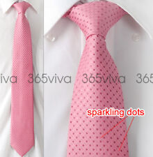 New Pink Dot Men Handmade Necktie 100% Woven Silk 8 cm Wedding Neck Tie