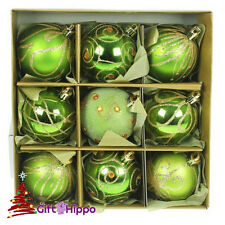 Christmas Tree Decoration - 60mm Apple Green Baubles - 9 Shatterproof Baubles