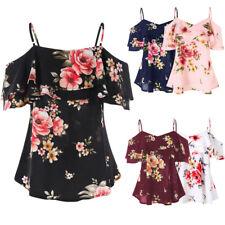Fashion Women Floral Printing Off Shoulder Shirt Sleeveless Vest Tank Top Blouse