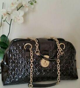 JAEGER Quilted Patent Leather Black Shoulder Bag Chain Strap Large