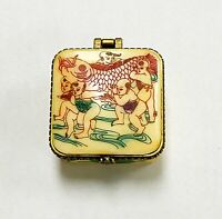 Chinese Cow Bone Carved Gift Box Trinket Box With Handpainted Graphics