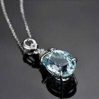 Vintage Natural Aquamarine Gems 925 Silver Chain Pendant Necklace Jewelry Gift