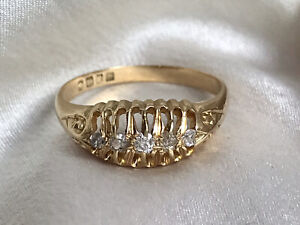 18ct Gold Antique Old Cut 5 Diamond Ring Size N 1/2
