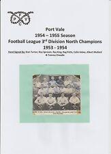 Port Vale temporada 1954-1955 Raro Original Firmada a Mano equipo grupo 7 X firmas