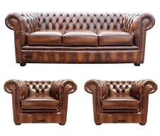 Chesterfield 3 Seater + Club + Club Chairs Antique Tan Leather Sofa Settee Suite