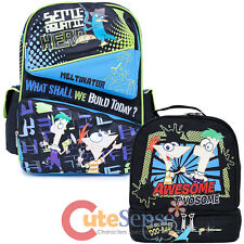 Phineas and Ferb School Backpack Lunch Bag 2pc Set with Perry