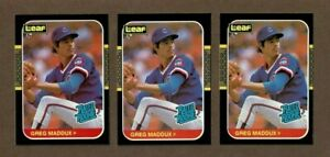 1987 Leaf 36 Greg Maddux Chicago Cubs Rookie Card Lot (3) NM-MT Off Center