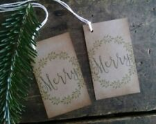 Christmas Gift Tags, Distressed, Rustic, Primitive, MERRY, set of 12