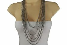 New Women Fashion Trendy Necklace Silver Metal Long Chain Link 5 Strands Jewelry