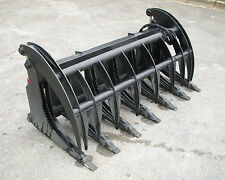 """Bobcat Skid Steer Attachment 74"""" Root Rake Grapple Bucket with Teeth - Free Ship"""