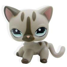 #468 Littlest Pet Shop Gray Cat kitty Short hair With Aqua Blue Eyes LPS TOY
