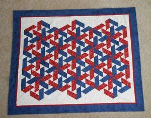 """Patriotic Triangle Magic Handmade Throw Quilt 47"""" x 58"""""""