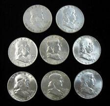 Lot of 8 Better Grade 90% Silver Franklin Half Dollars 1949-1963 NR & Free Ship!