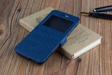 Funda carcasa libro ventana Huawei Ascend G8 D199 Gx8 madera ventanilla negro