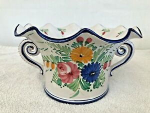 Deruta Italy Hand painted Floral Handle Blue Serving Dish Marked Stamp Vintage