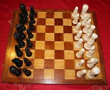 Medieval Ornamental Chess Set with Wooden Inlaid Board