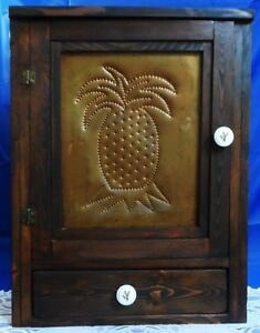 Tooled & Punched Wood SPICE APOTHECARY CABINET CHEST 3 SHELF 1 DRAWER 2 KNOB