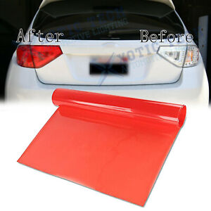 "1x 12"" x 48"" Glossy Red Vinyl Film Wrap Sheet For Tail Lamps Lights Sidemarkers"