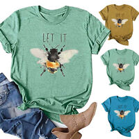 UK Womens Blouse Pullover Ladies Sweatshirt Shirt Holiday Casual Tee Bee Tops