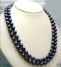 "Charming! 8-9MM AAA TAHITIAN BLACK PEARL Necklace 25"" AA"