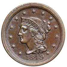 1849 N-2 E-MDS Braided Hair Large Cent Coin 1c