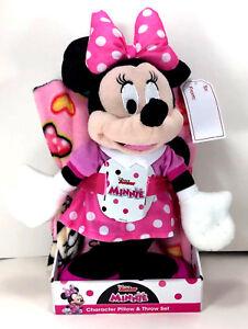 "NEW Disney Mickey MINNIE MOUSE 40"" x 50"" Soft THROW BLANKET PILLOW Plush Figure"