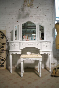 Painted Cottage Chic Shabby Romantic Vanity and Mirror and Stool