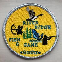RIVER RIDGE FISH & GAME GORLITZ SASKATCHEWAN CANADA PATCH, (FLASH WARDEN CREST)