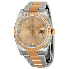 Rolex Oyster Perpetual Datejust 36 Pink Dial Stainless Steel and 18K Everose