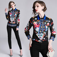 2019 Spring Summer Floral Printed Bow Tie Neck Women OL Casual Top Shirt Blouse